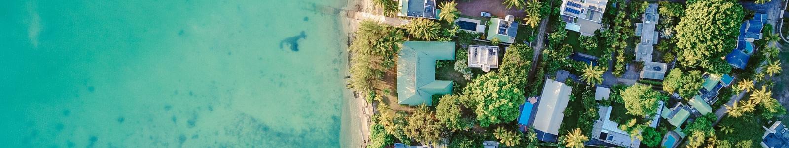 aerial view of houses near beach